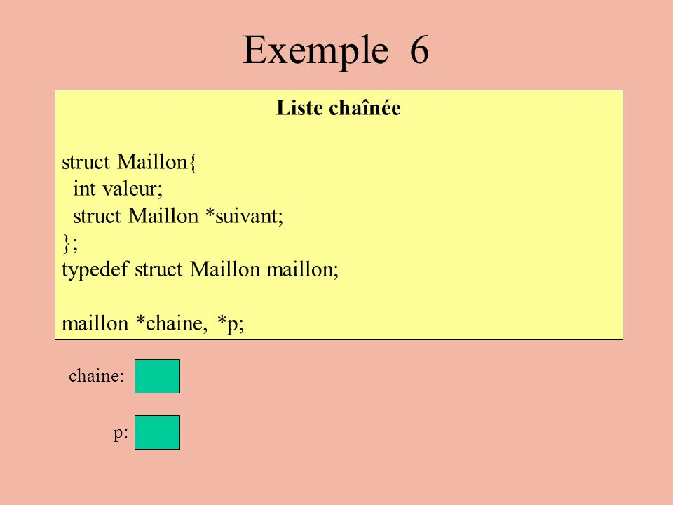 Exemple 6 Liste chaînée struct Maillon{ int valeur;