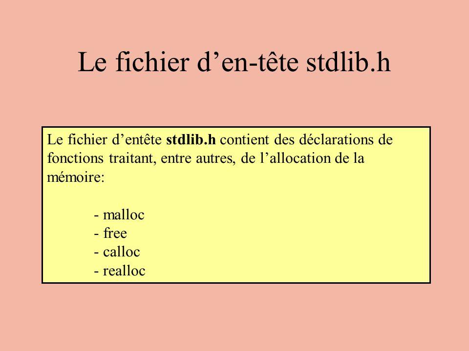 Le fichier d'en-tête stdlib.h