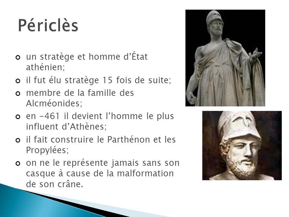 Périclès un stratège et homme d'État athénien;