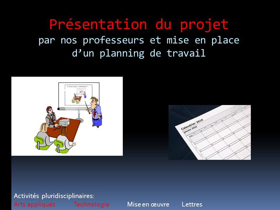 Présentation du projet par nos professeurs et mise en place d'un planning de travail