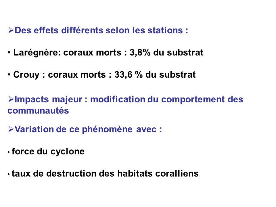 Des effets différents selon les stations :