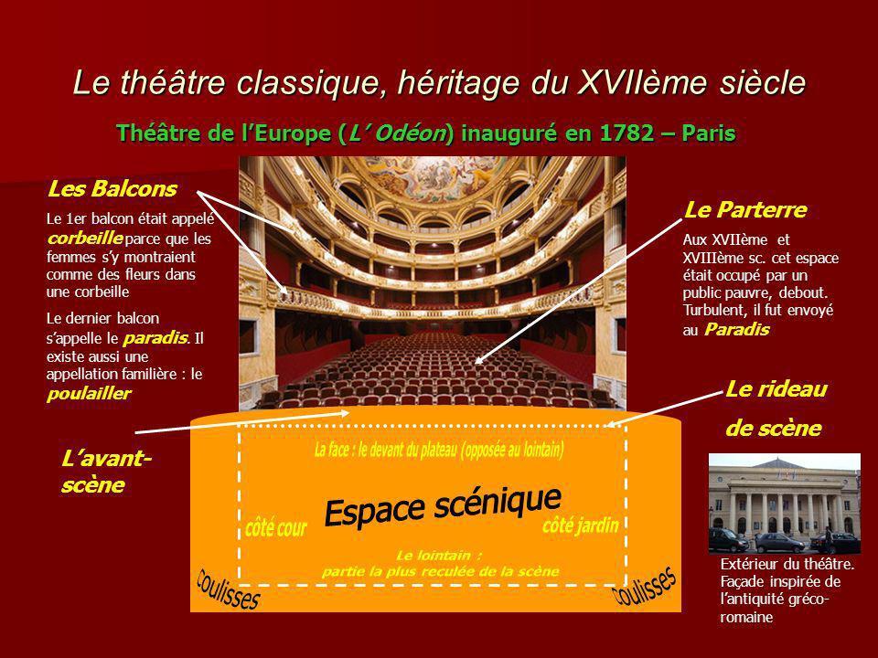 Le théâtre classique, héritage du XVIIème siècle