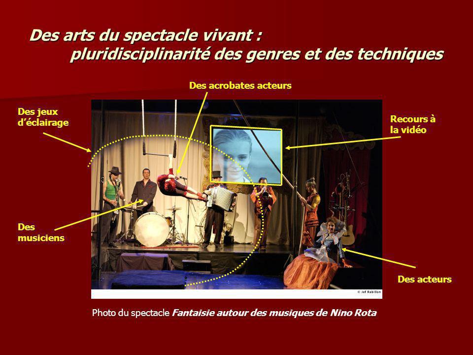 Des arts du spectacle vivant : pluridisciplinarité des genres et des techniques
