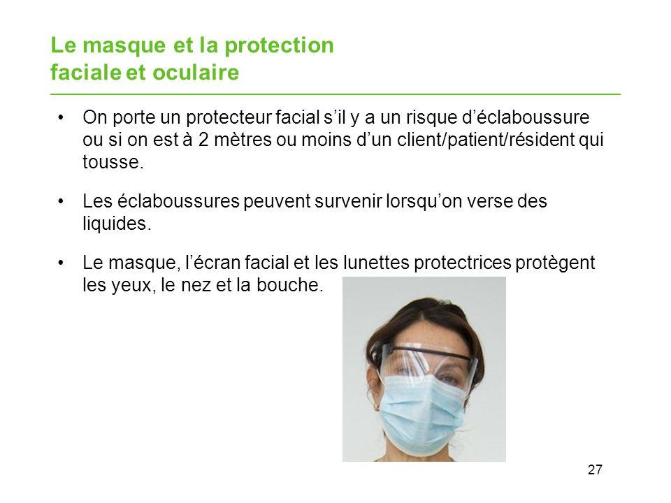 Le masque et la protection faciale et oculaire