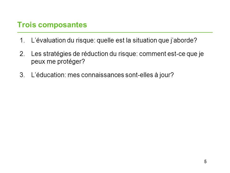 Trois composantes L'évaluation du risque: quelle est la situation que j'aborde