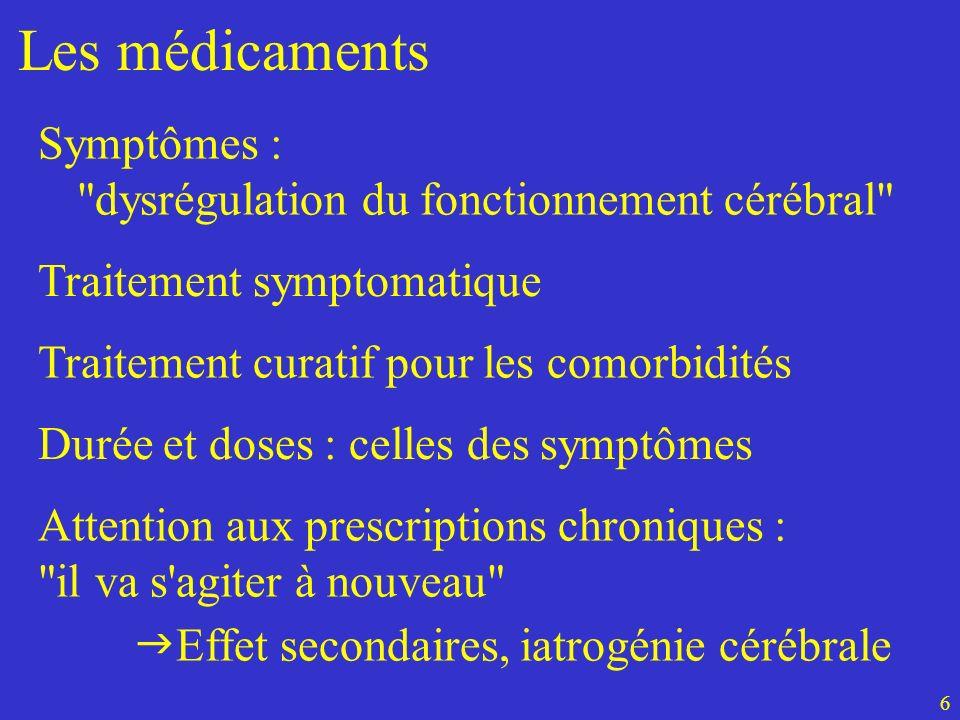 Les médicaments Symptômes : dysrégulation du fonctionnement cérébral