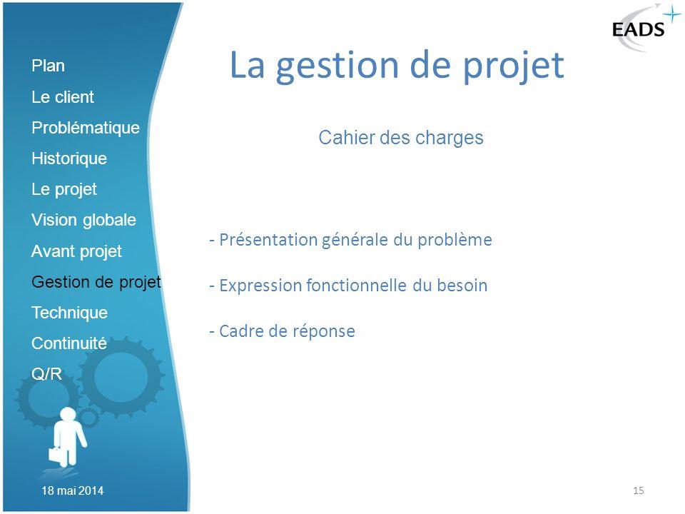 La gestion de projet Cahier des charges