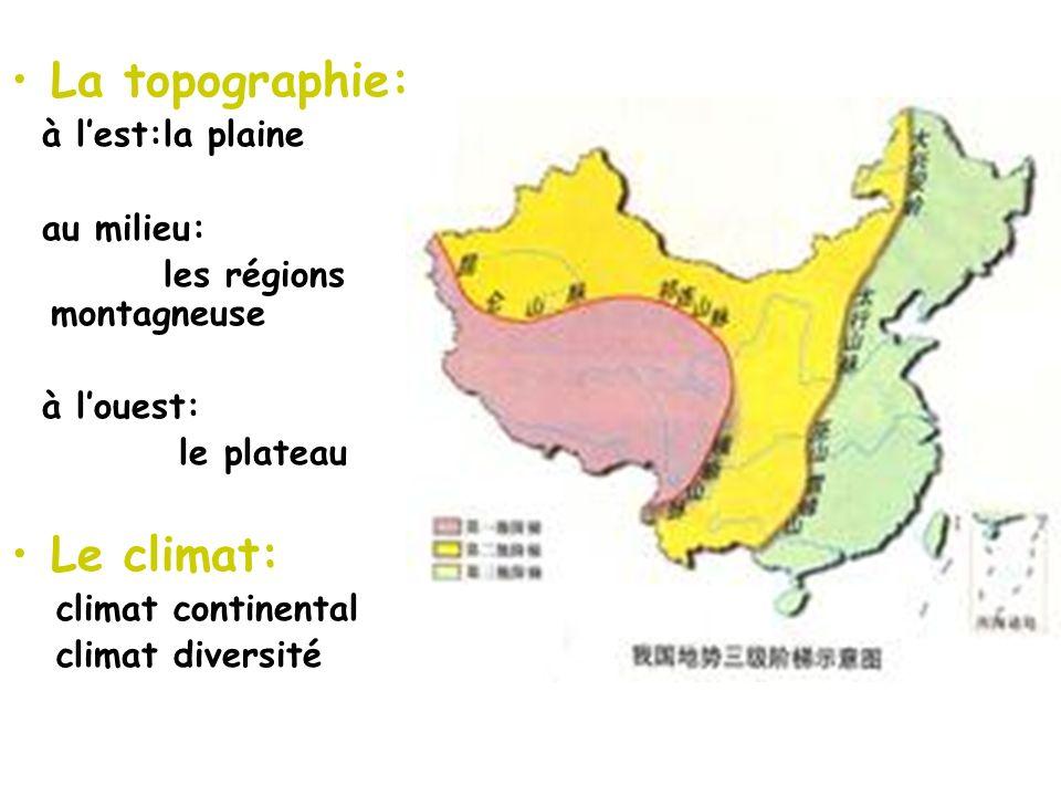 La topographie: Le climat: à l'est:la plaine au milieu: