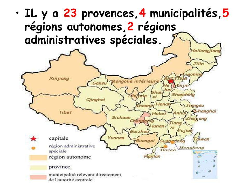 IL y a 23 provences,4 municipalités,5 régions autonomes,2 régions administratives spéciales.