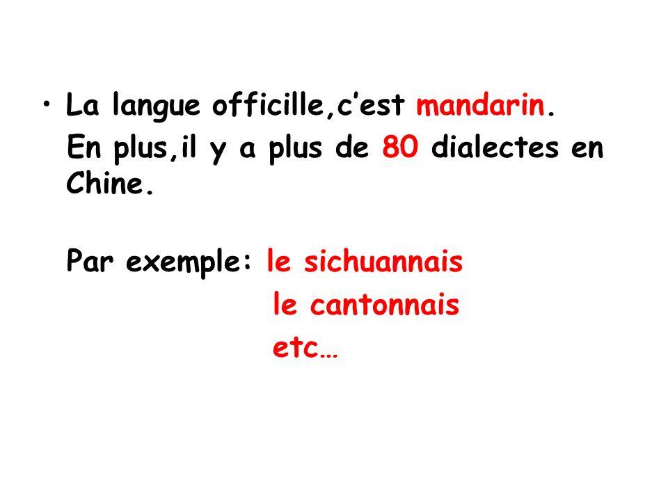 La langue officille,c'est mandarin.