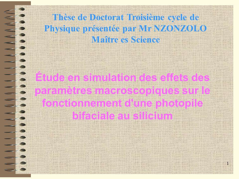 Thèse de Doctorat Troisième cycle de Physique présentée par Mr NZONZOLO Maître es Science