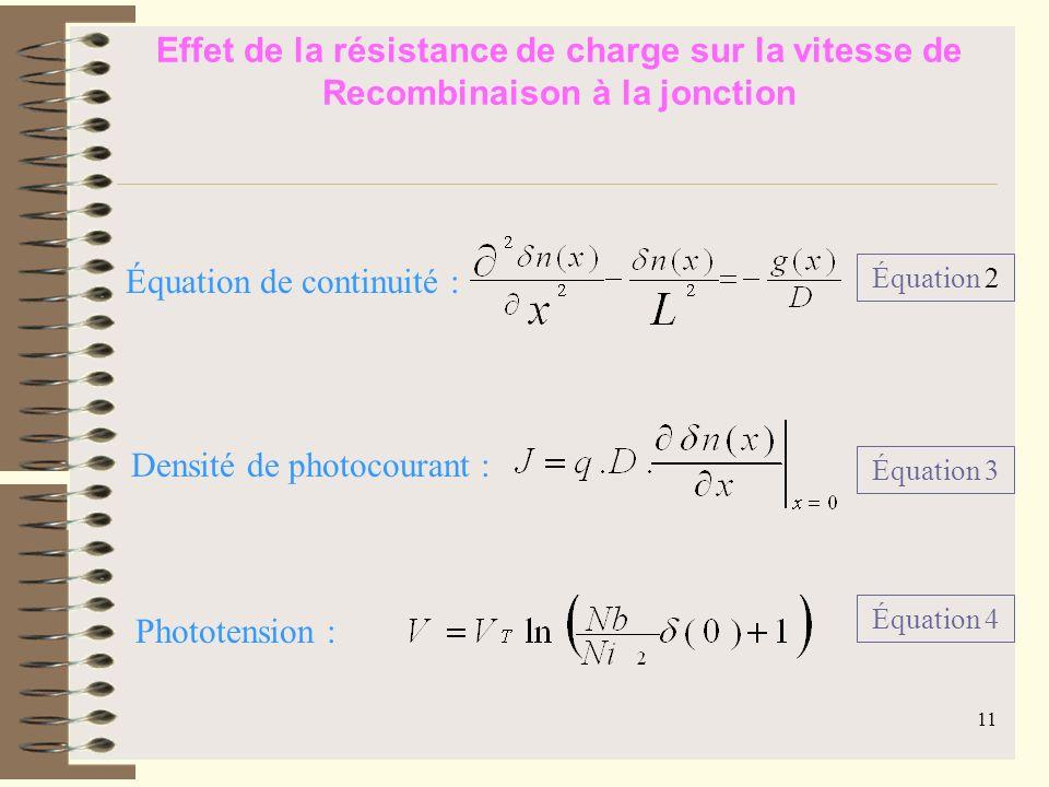 Équation de continuité :