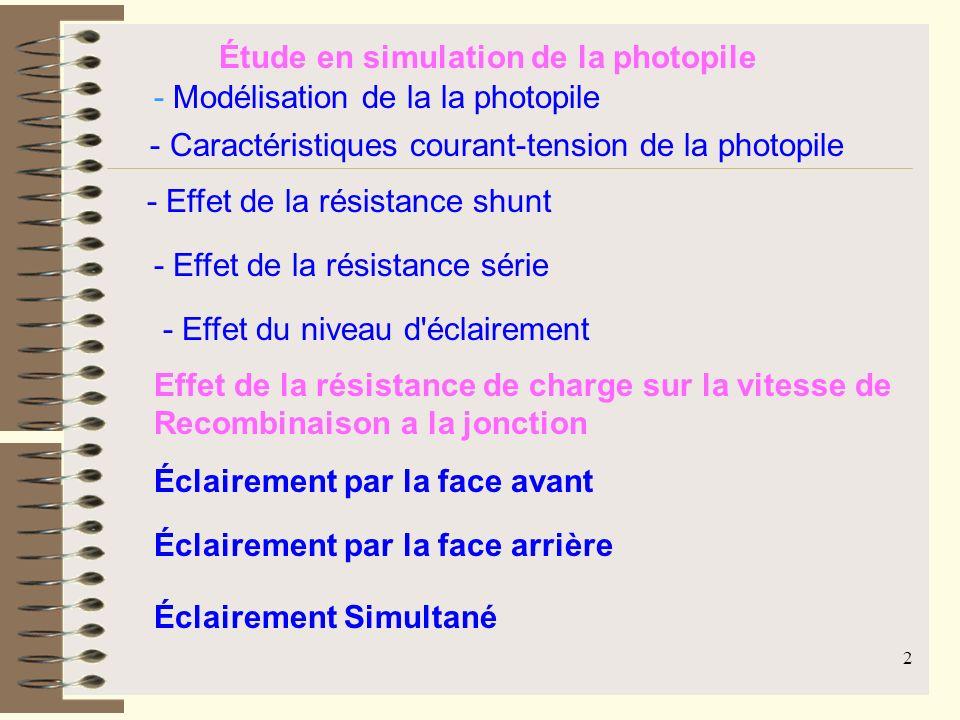 Étude en simulation de la photopile
