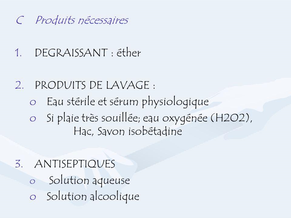C Produits nécessaires DEGRAISSANT : éther 2. PRODUITS DE LAVAGE :
