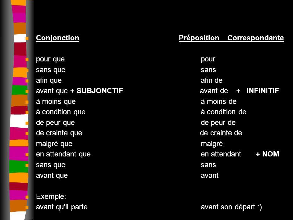 Conjonction Préposition Correspondante