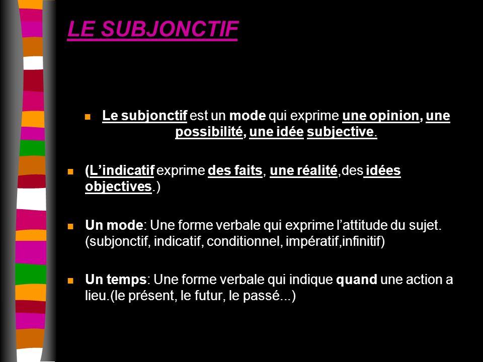 LE SUBJONCTIF Le subjonctif est un mode qui exprime une opinion, une possibilité, une idée subjective.