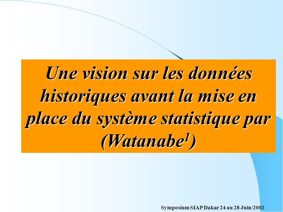 Une vision sur les données historiques avant la mise en place du système statistique par (Watanabe1)
