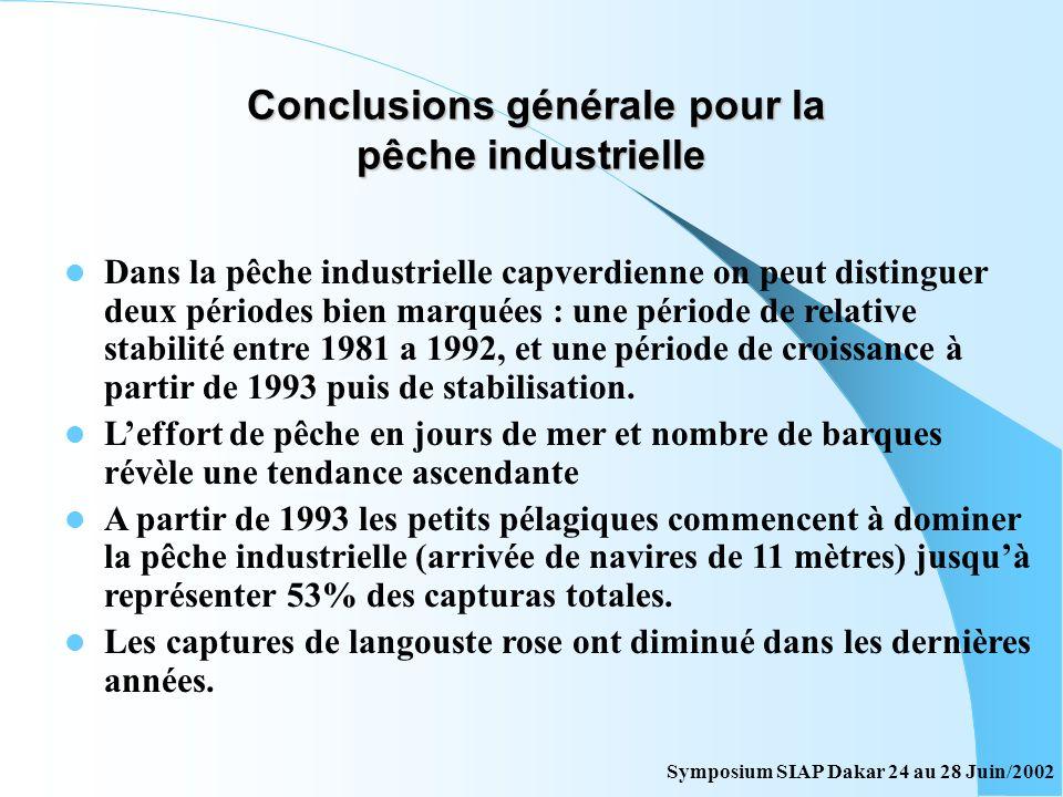 Conclusions générale pour la pêche industrielle