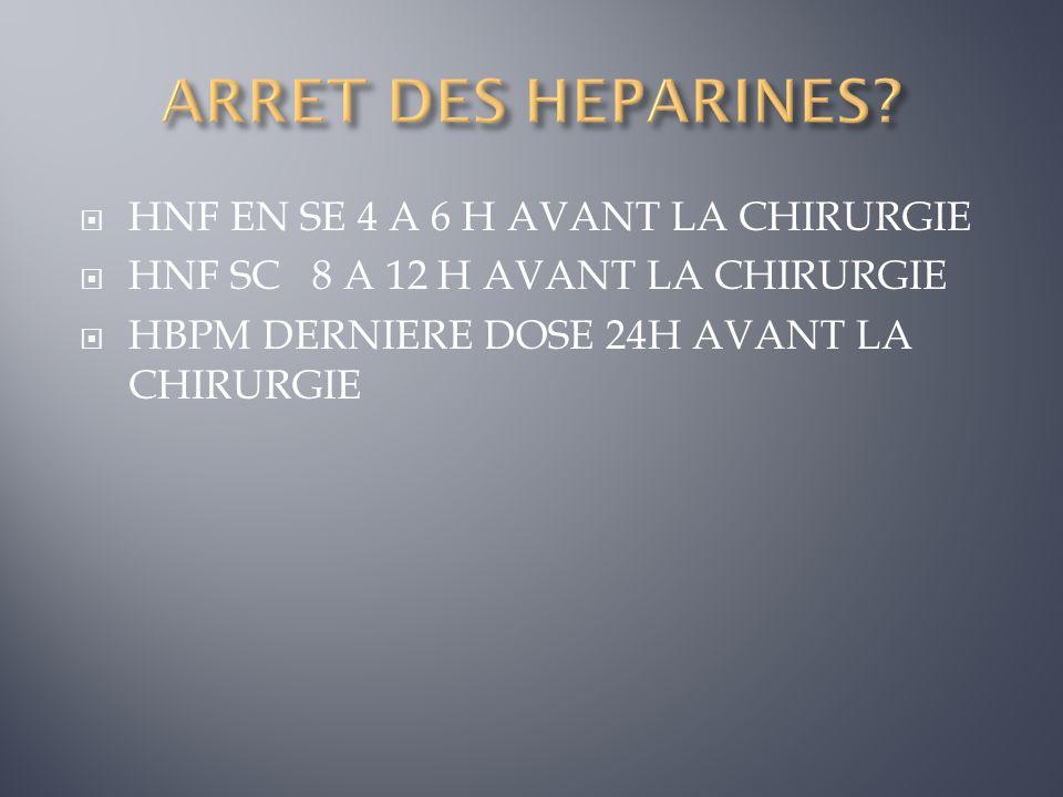 ARRET DES HEPARINES HNF EN SE 4 A 6 H AVANT LA CHIRURGIE