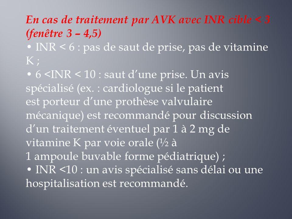 En cas de traitement par AVK avec INR cible < 3 (fenêtre 3 – 4,5)