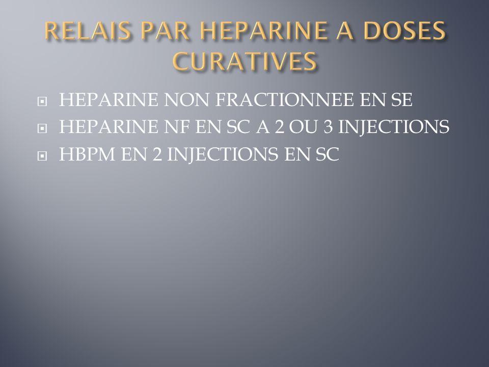 RELAIS PAR HEPARINE A DOSES CURATIVES