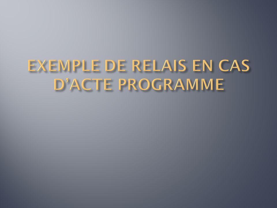 EXEMPLE DE RELAIS EN CAS D'ACTE PROGRAMME