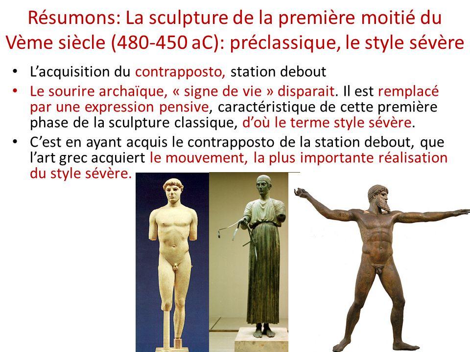 Résumons: La sculpture de la première moitié du Vème siècle (480-450 aC): préclassique, le style sévère