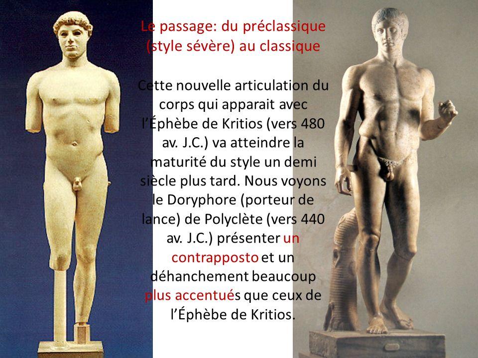 Le passage: du préclassique (style sévère) au classique Cette nouvelle articulation du corps qui apparait avec l'Éphèbe de Kritios (vers 480 av. J.C.) va atteindre la maturité du style un demi siècle plus tard. Nous voyons le Doryphore (porteur de lance) de Polyclète (vers 440 av. J.C.) présenter un contrapposto et un déhanchement beaucoup plus accentués que ceux de l'Éphèbe de Kritios.