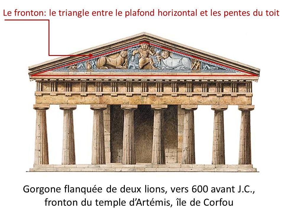 Le fronton: le triangle entre le plafond horizontal et les pentes du toit