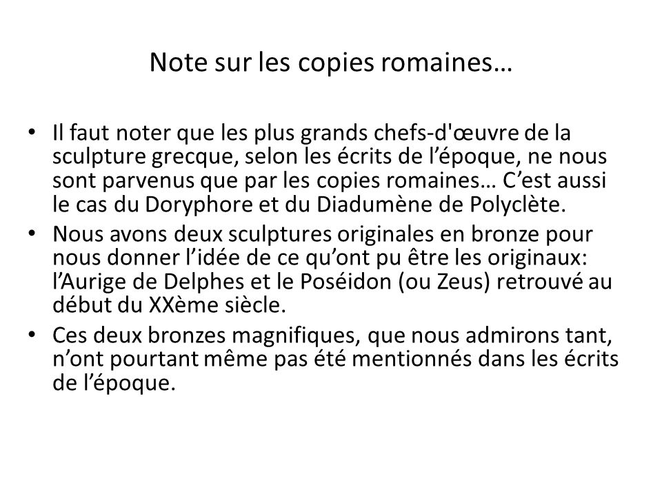 Note sur les copies romaines…