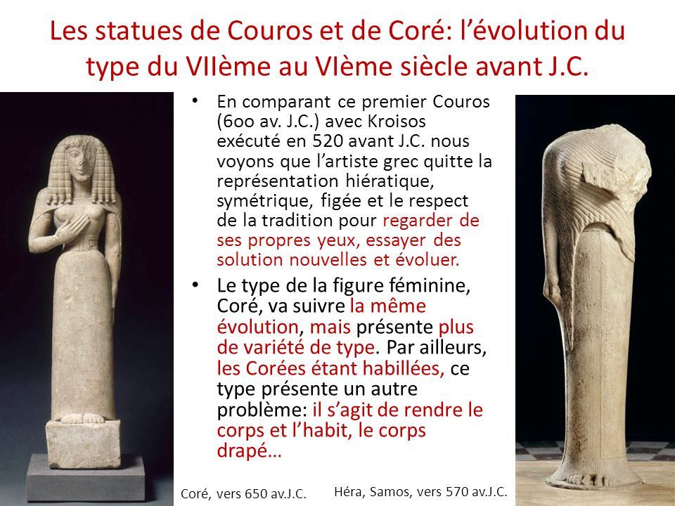 Les statues de Couros et de Coré: l'évolution du type du VIIème au VIème siècle avant J.C.