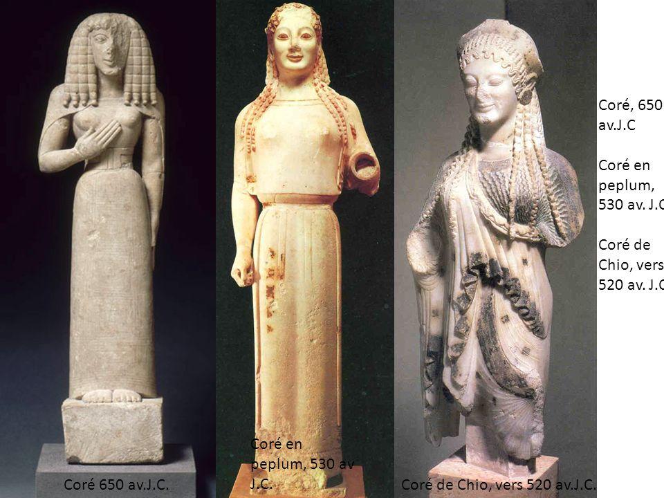 Coré, 650 av. J. C Coré en peplum, 530 av. J. C