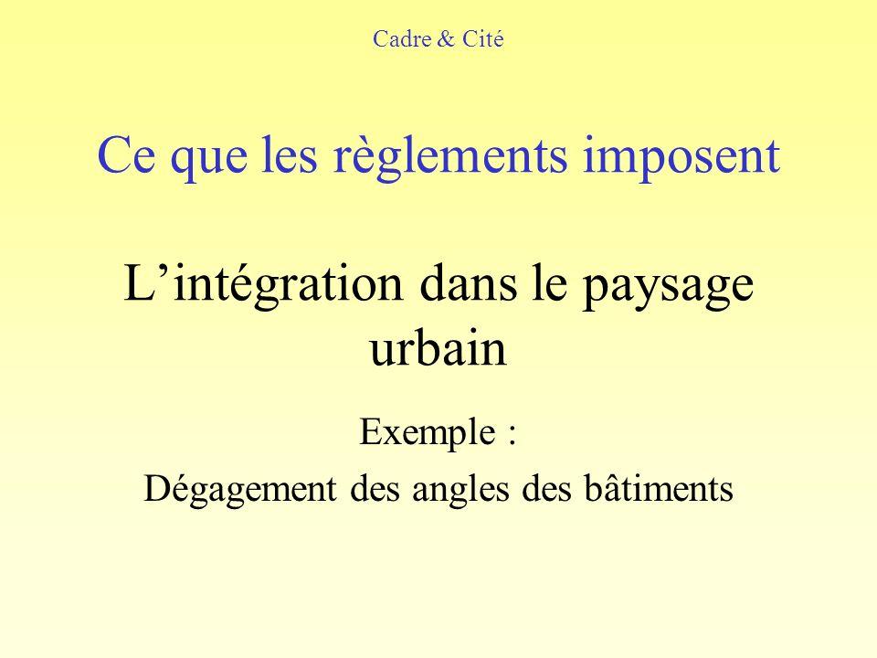 Ce que les règlements imposent L'intégration dans le paysage urbain