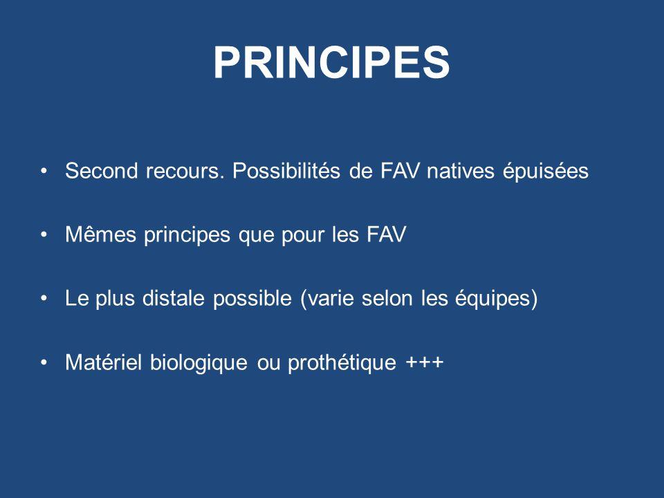 PRINCIPES Second recours. Possibilités de FAV natives épuisées