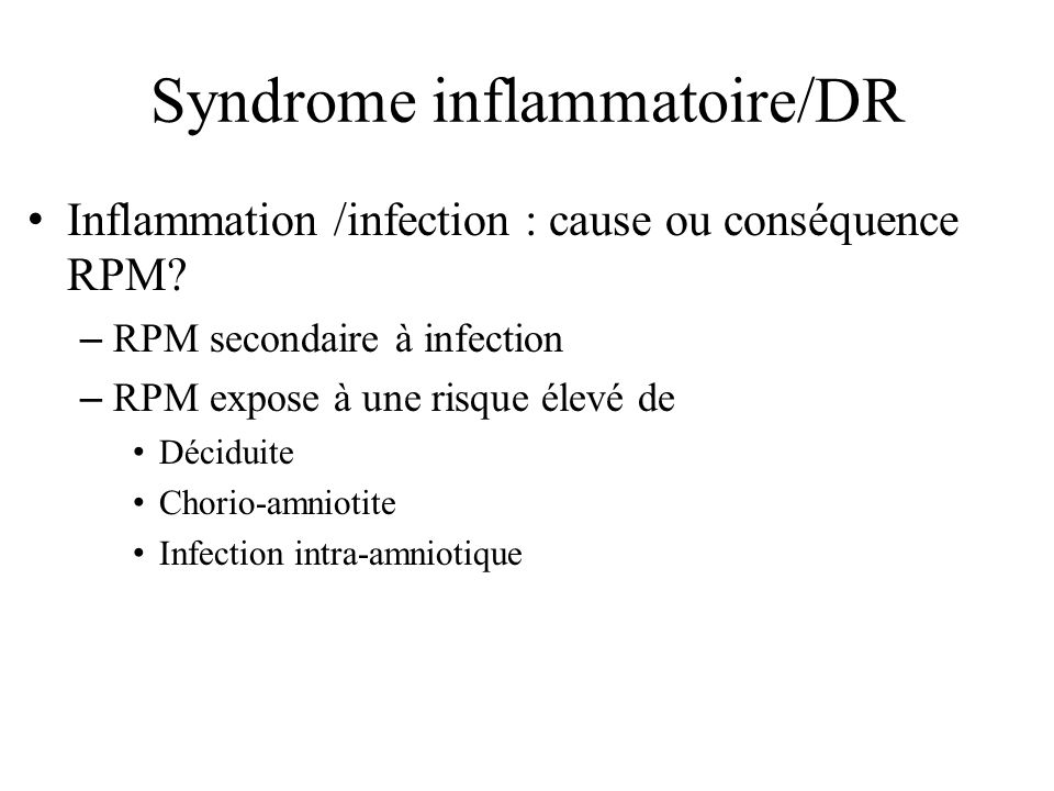 Syndrome inflammatoire/DR