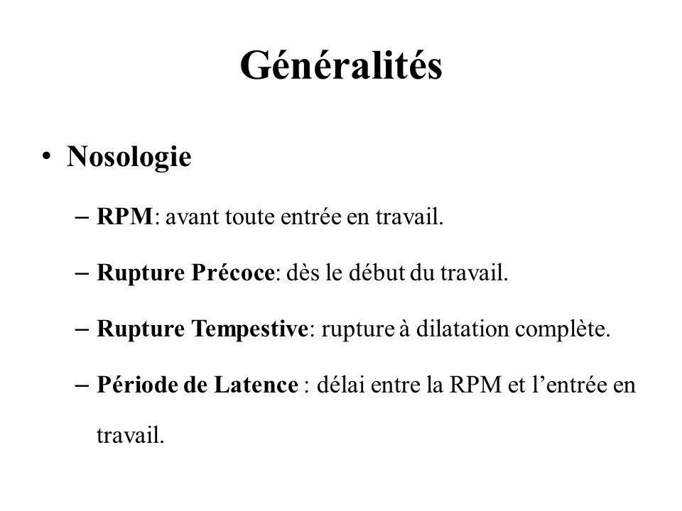 Généralités Nosologie RPM: avant toute entrée en travail.