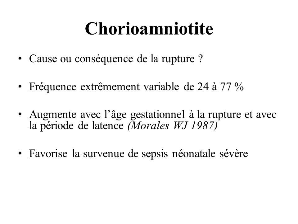 Chorioamniotite Cause ou conséquence de la rupture