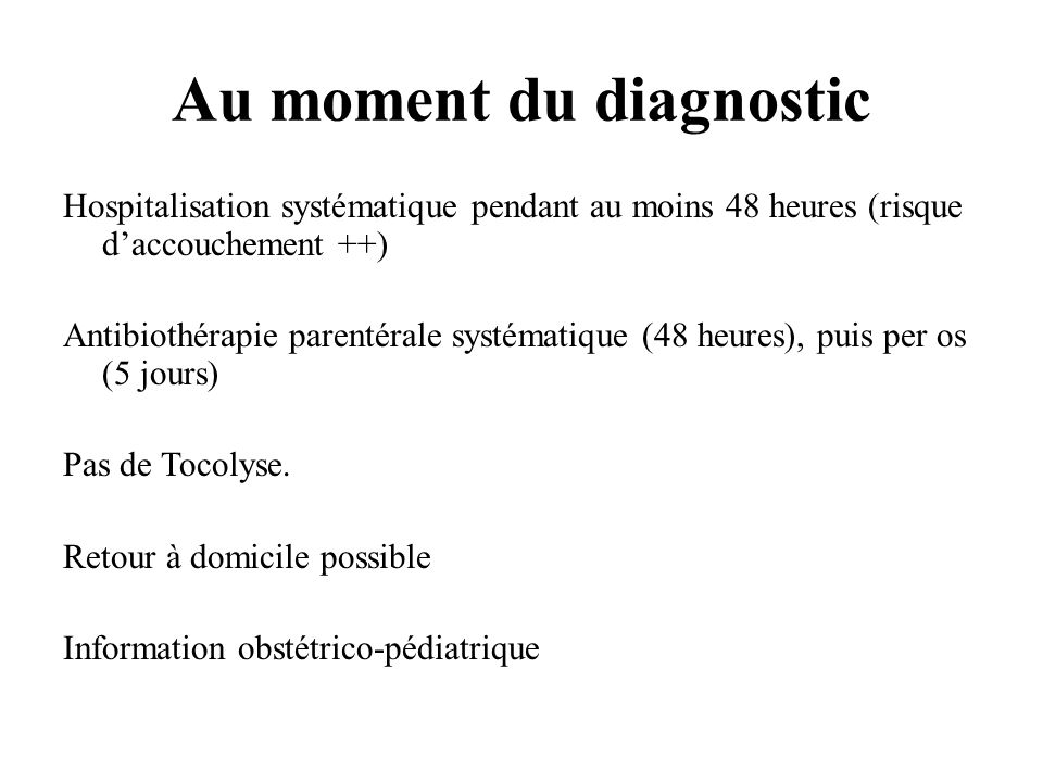 Au moment du diagnostic