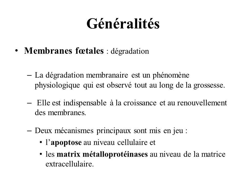 Généralités Membranes fœtales : dégradation
