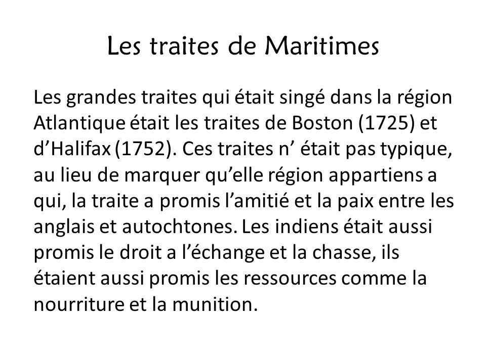 Les traites de Maritimes