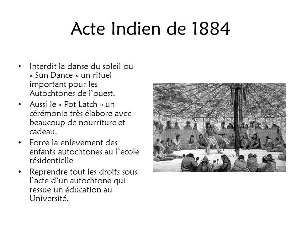 Acte Indien de 1884 Interdit la danse du soleil ou « Sun Dance » un rituel important pour les Autochtones de l'ouest.