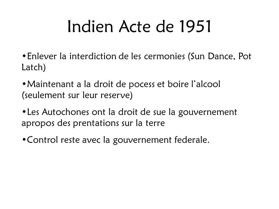 Indien Acte de 1951 Enlever la interdiction de les cermonies (Sun Dance, Pot Latch)