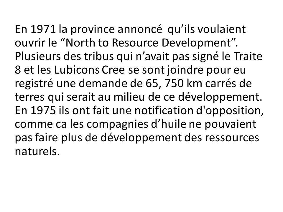 En 1971 la province annoncé qu'ils voulaient ouvrir le North to Resource Development .
