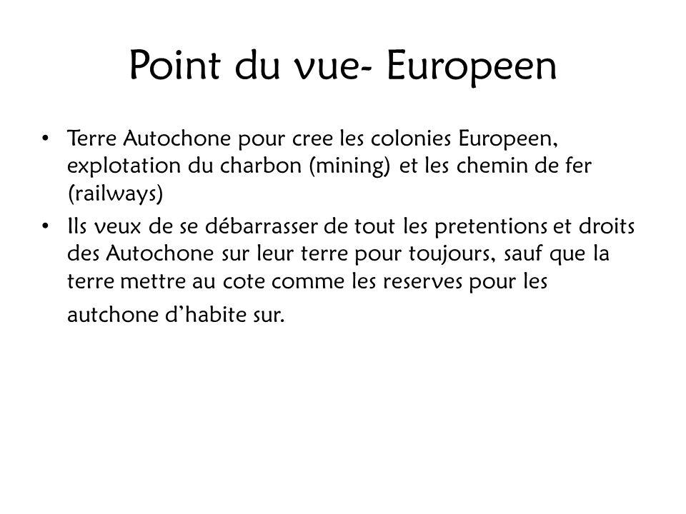Point du vue- Europeen Terre Autochone pour cree les colonies Europeen, explotation du charbon (mining) et les chemin de fer (railways)