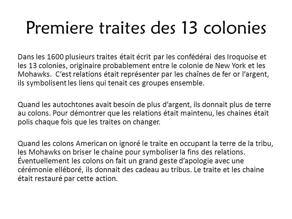 Premiere traites des 13 colonies