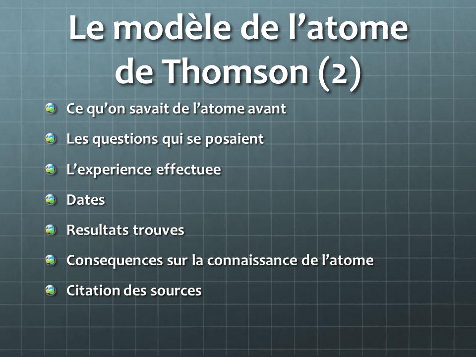 Le modèle de l'atome de Thomson (2)