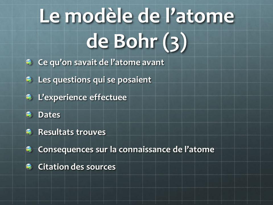 Le modèle de l'atome de Bohr (3)