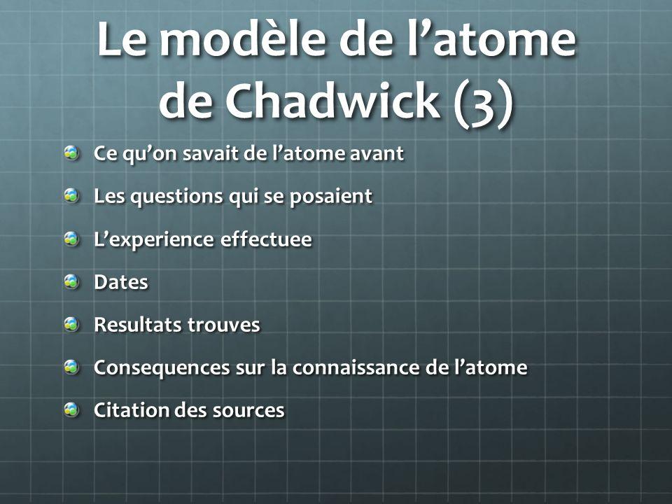 Le modèle de l'atome de Chadwick (3)