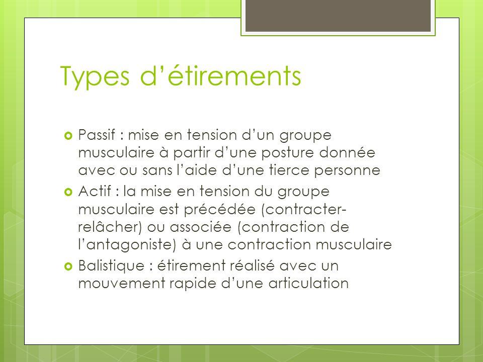 Types d'étirements Passif : mise en tension d'un groupe musculaire à partir d'une posture donnée avec ou sans l'aide d'une tierce personne.