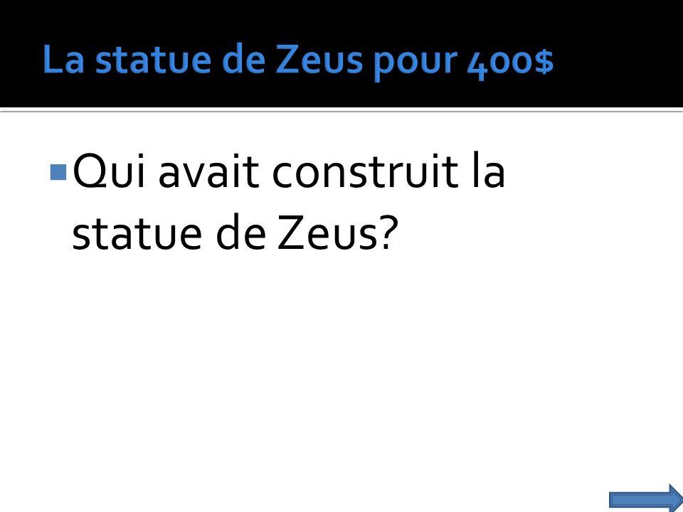 Qui avait construit la statue de Zeus